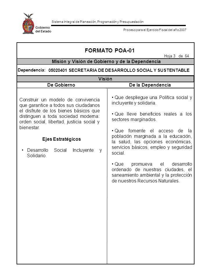 FORMATO POA-01 Misión y Visión de Gobierno y de la Dependencia Visión