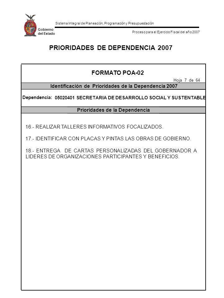 PRIORIDADES DE DEPENDENCIA 2007