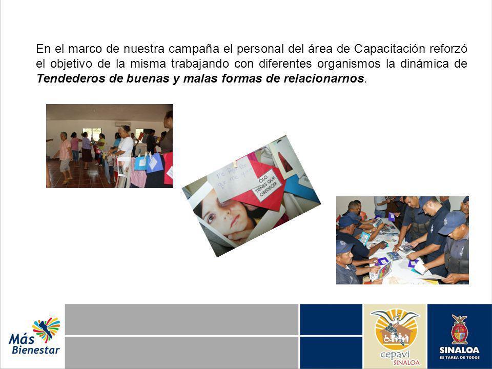 En el marco de nuestra campaña el personal del área de Capacitación reforzó el objetivo de la misma trabajando con diferentes organismos la dinámica de Tendederos de buenas y malas formas de relacionarnos.