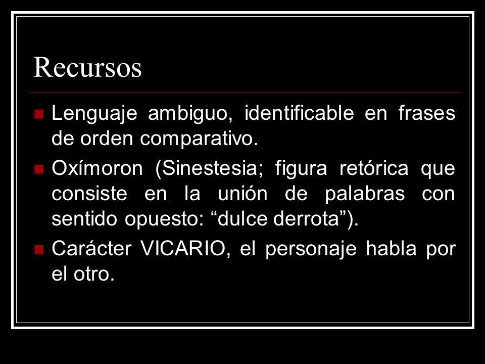 Recursos Lenguaje ambiguo, identificable en frases de orden comparativo.
