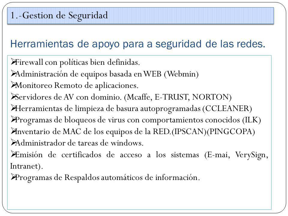 Herramientas de apoyo para a seguridad de las redes.