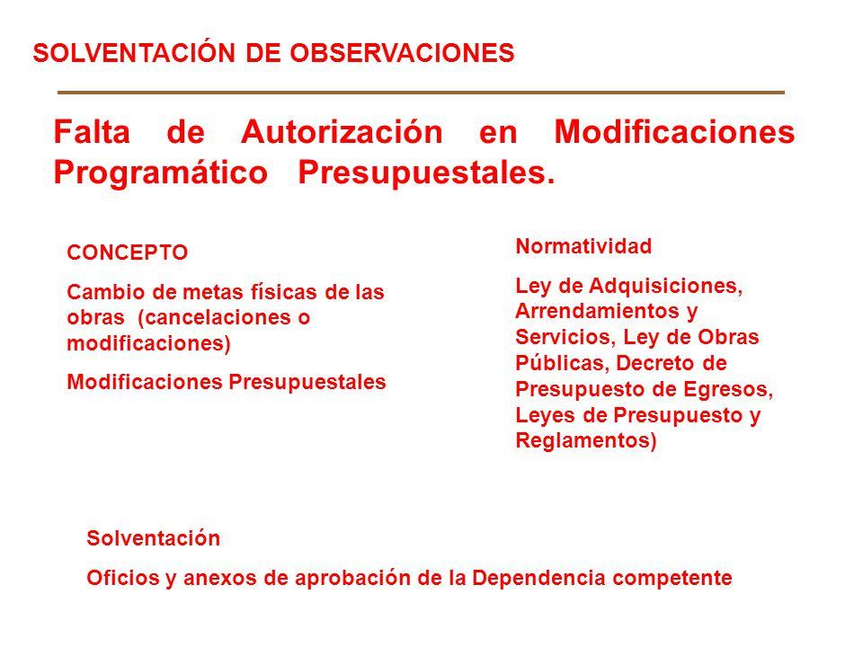 Falta de Autorización en Modificaciones Programático Presupuestales.
