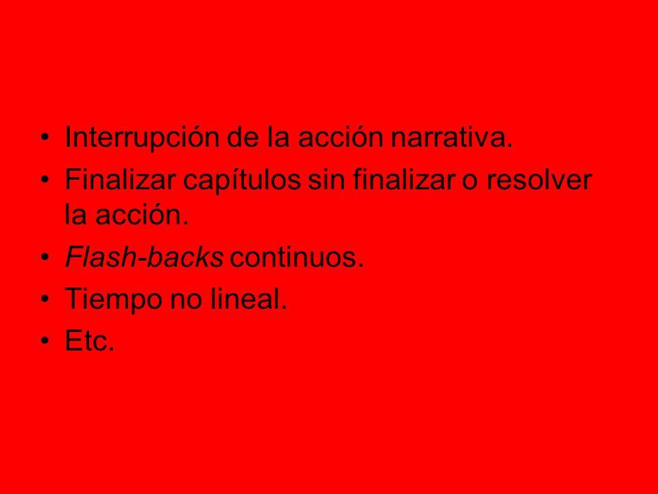 Interrupción de la acción narrativa.