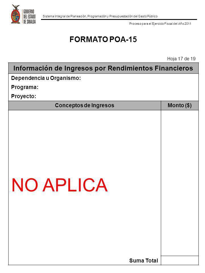 Información de Ingresos por Rendimientos Financieros