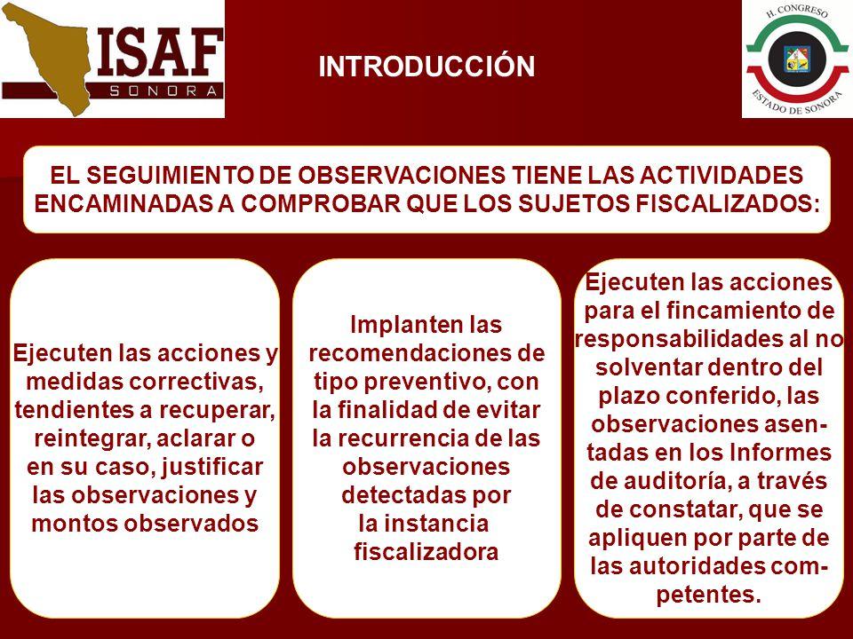 INTRODUCCIÓN EL SEGUIMIENTO DE OBSERVACIONES TIENE LAS ACTIVIDADES