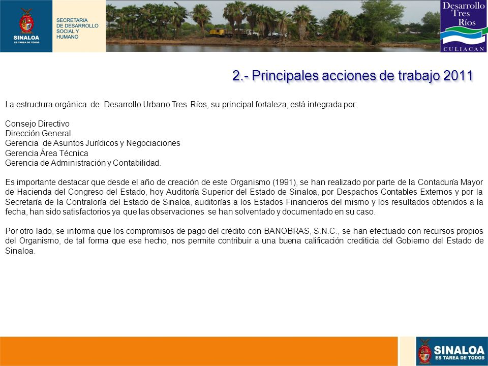 2.- Principales acciones de trabajo 2011