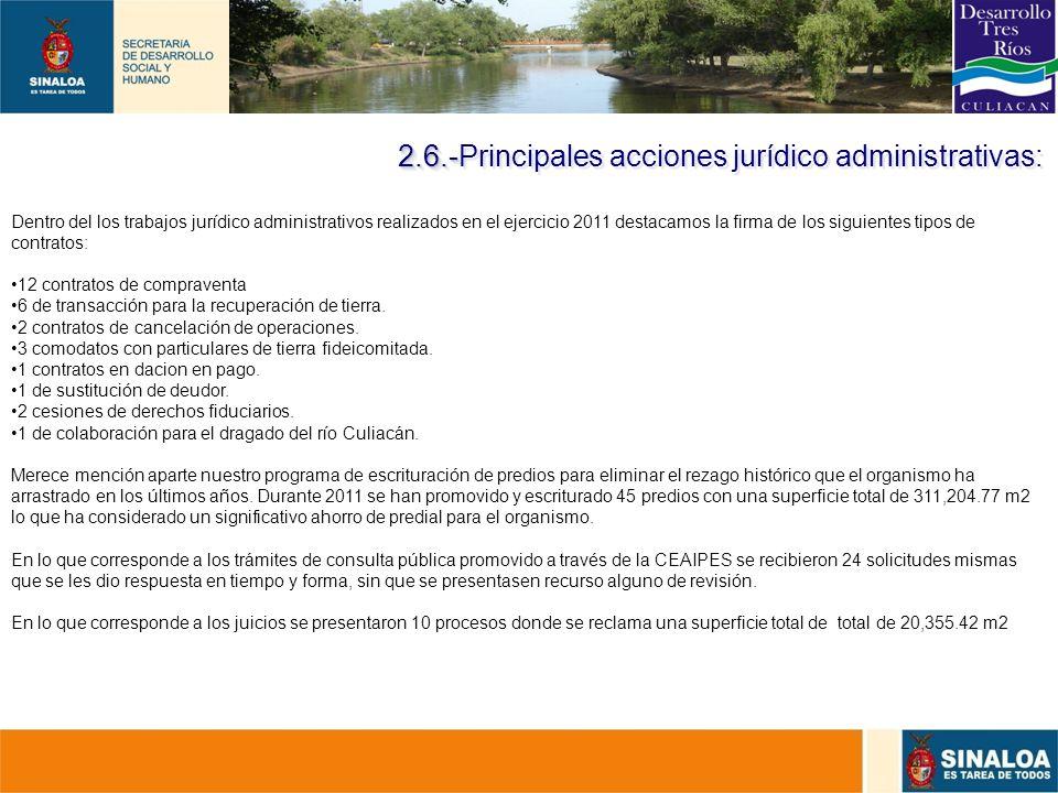 2.6.-Principales acciones jurídico administrativas: