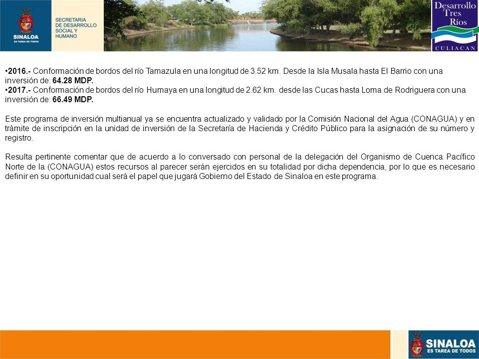 2016. - Conformación de bordos del río Tamazula en una longitud de 3