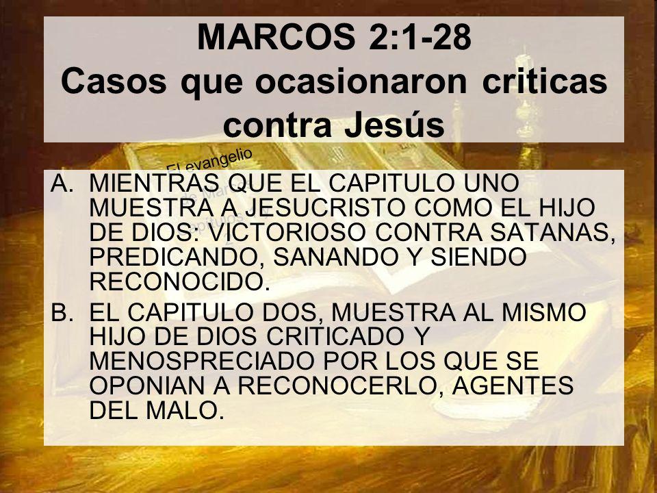 MARCOS 2:1-28 Casos que ocasionaron criticas contra Jesús