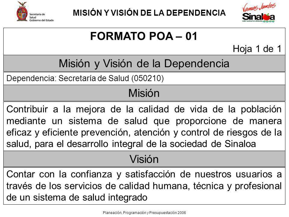 MISIÓN Y VISIÓN DE LA DEPENDENCIA