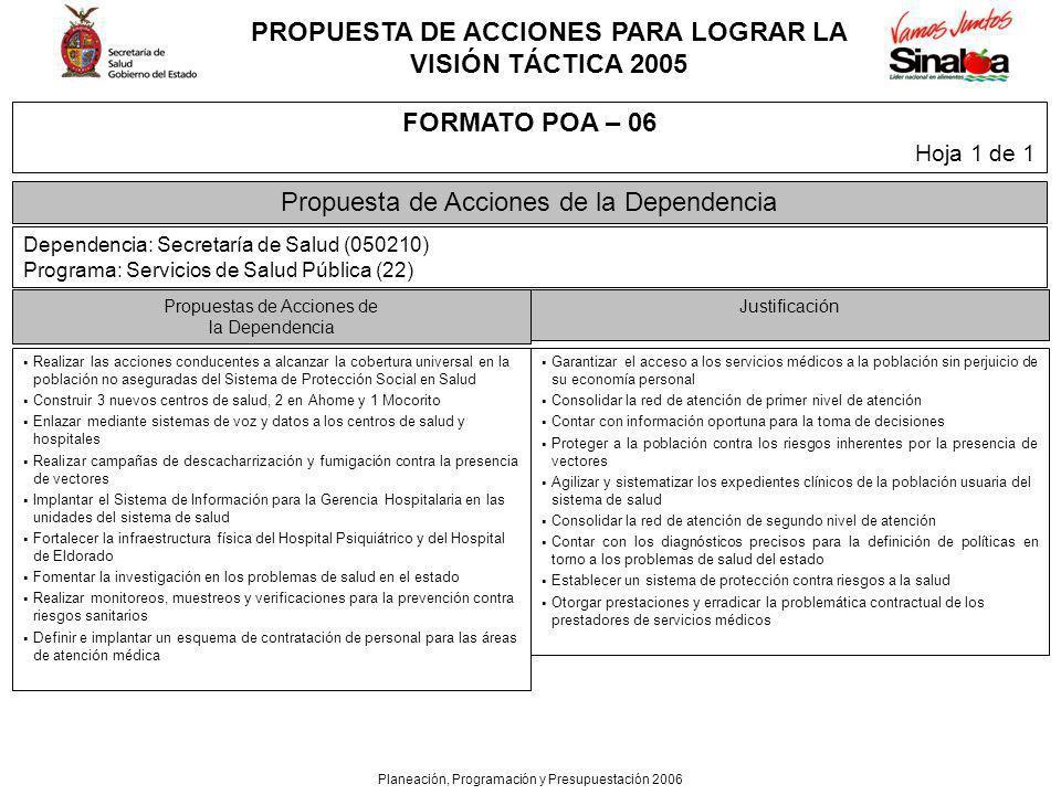 PROPUESTA DE ACCIONES PARA LOGRAR LA VISIÓN TÁCTICA 2005