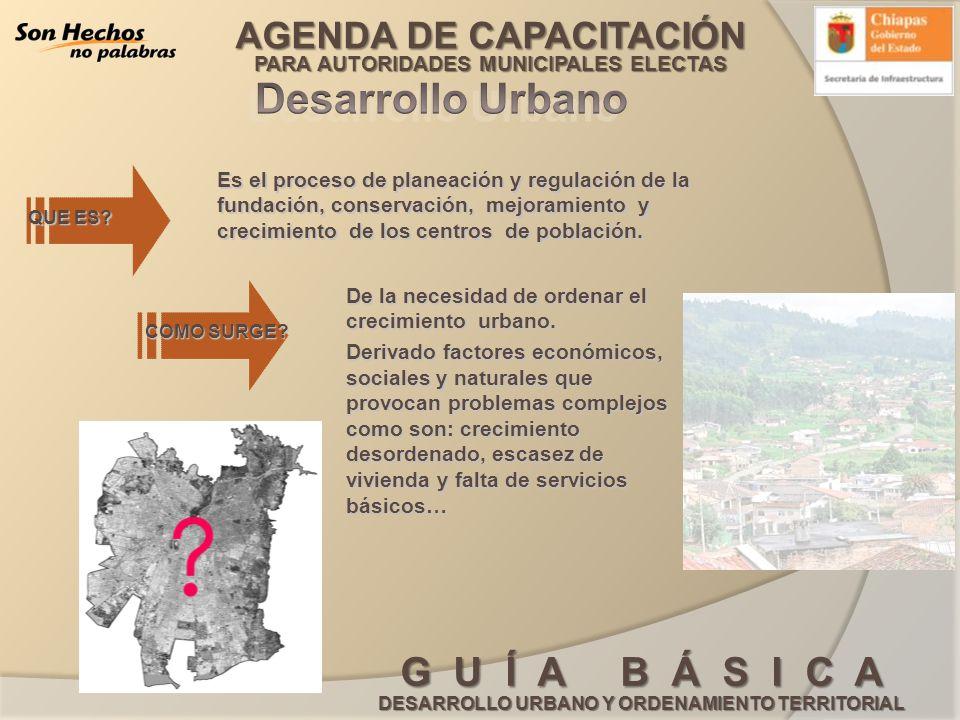 Desarrollo Urbano Es el proceso de planeación y regulación de la fundación, conservación, mejoramiento y crecimiento de los centros de población.