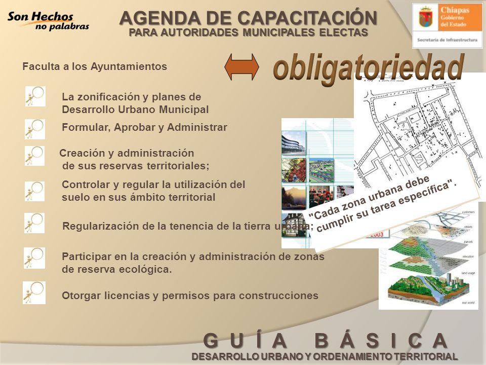 obligatoriedad Faculta a los Ayuntamientos La zonificación y planes de