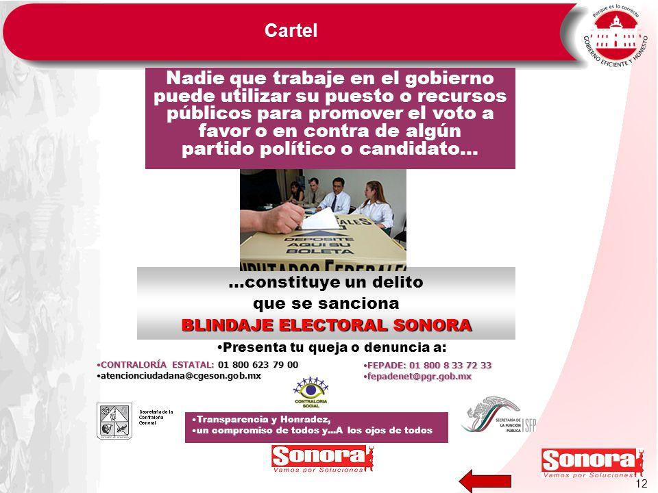 …constituye un delito que se sanciona BLINDAJE ELECTORAL SONORA