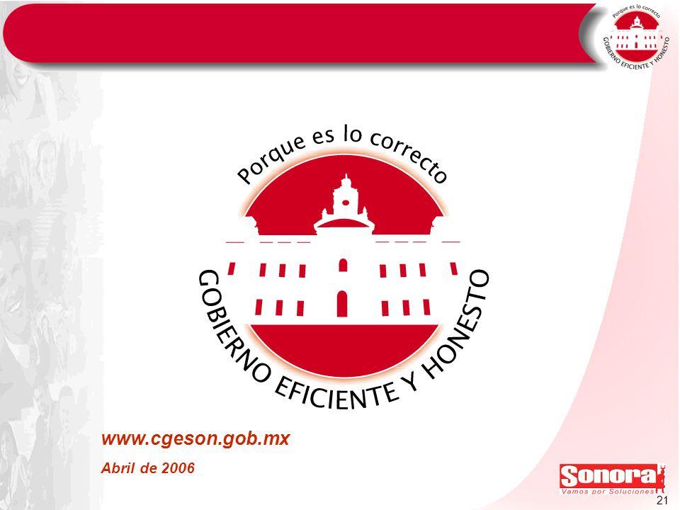 www.cgeson.gob.mx Abril de 2006