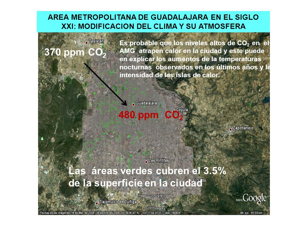 Las áreas verdes cubren el 3.5% de la superficie en la ciudad