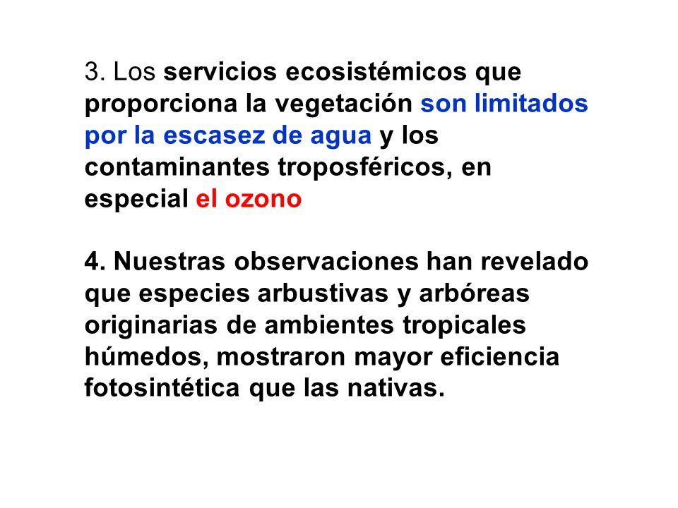 3. Los servicios ecosistémicos que proporciona la vegetación son limitados por la escasez de agua y los contaminantes troposféricos, en especial el ozono