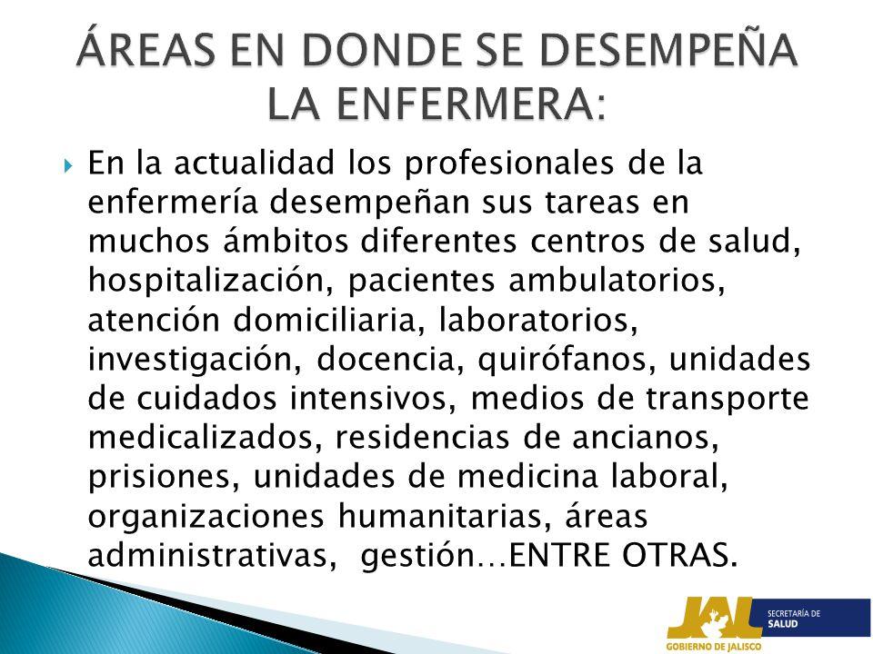 ÁREAS EN DONDE SE DESEMPEÑA LA ENFERMERA: