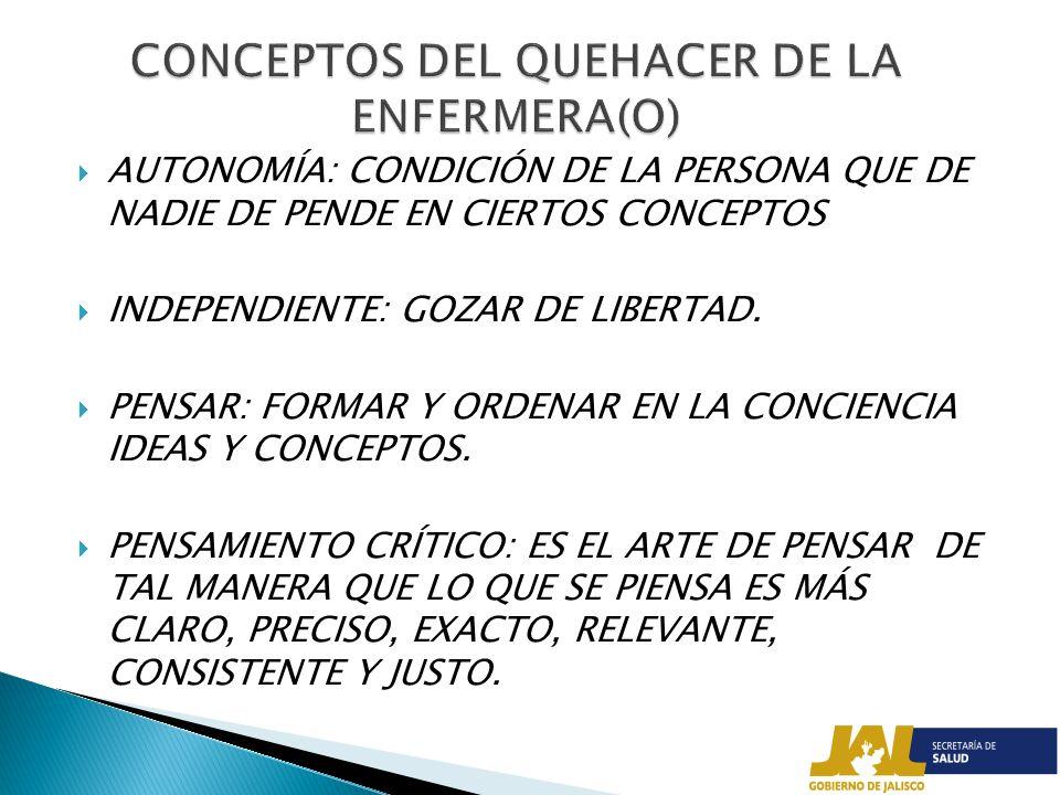 CONCEPTOS DEL QUEHACER DE LA ENFERMERA(O)