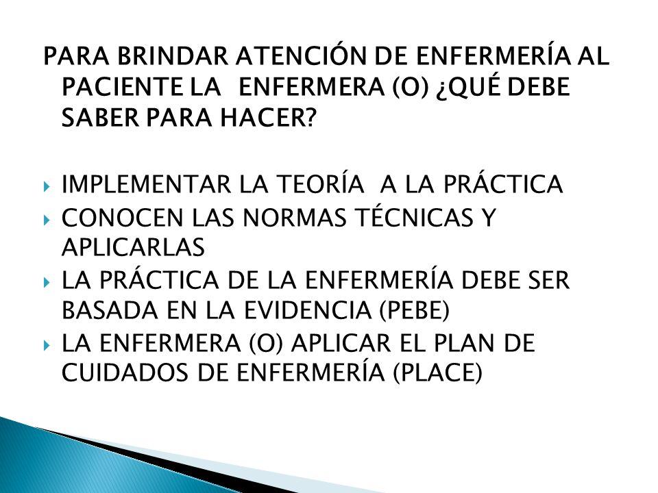 PARA BRINDAR ATENCIÓN DE ENFERMERÍA AL PACIENTE LA ENFERMERA (O) ¿QUÉ DEBE SABER PARA HACER