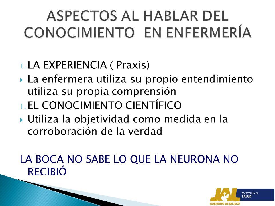 ASPECTOS AL HABLAR DEL CONOCIMIENTO EN ENFERMERÍA