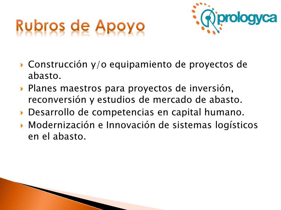 Rubros de Apoyo Construcción y/o equipamiento de proyectos de abasto.