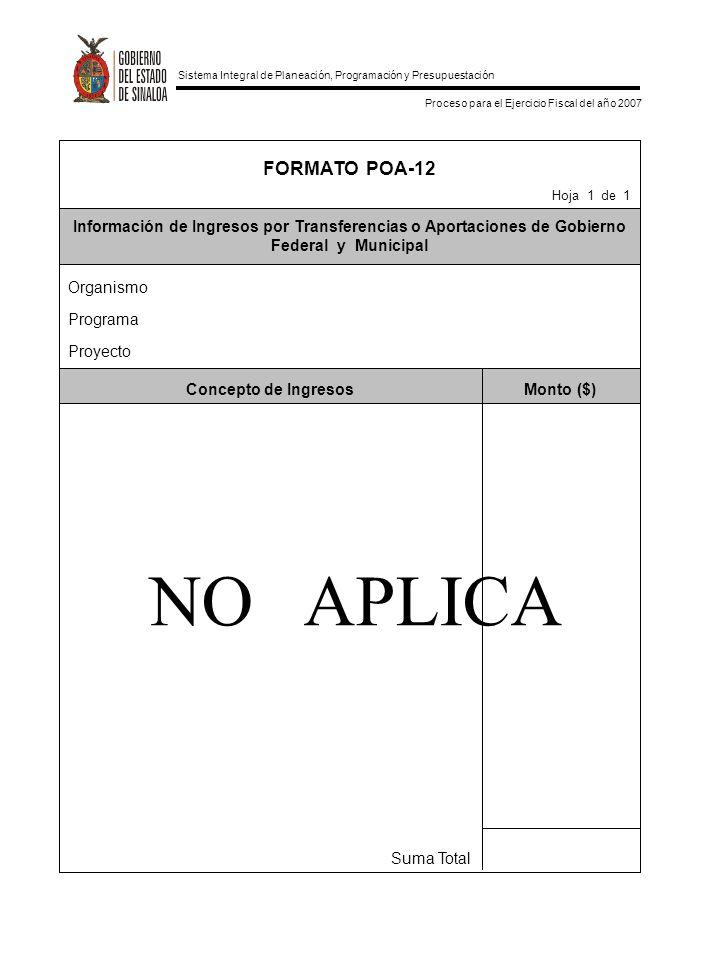 FORMATO POA-12 Hoja 1 de 1. Información de Ingresos por Transferencias o Aportaciones de Gobierno Federal y Municipal.