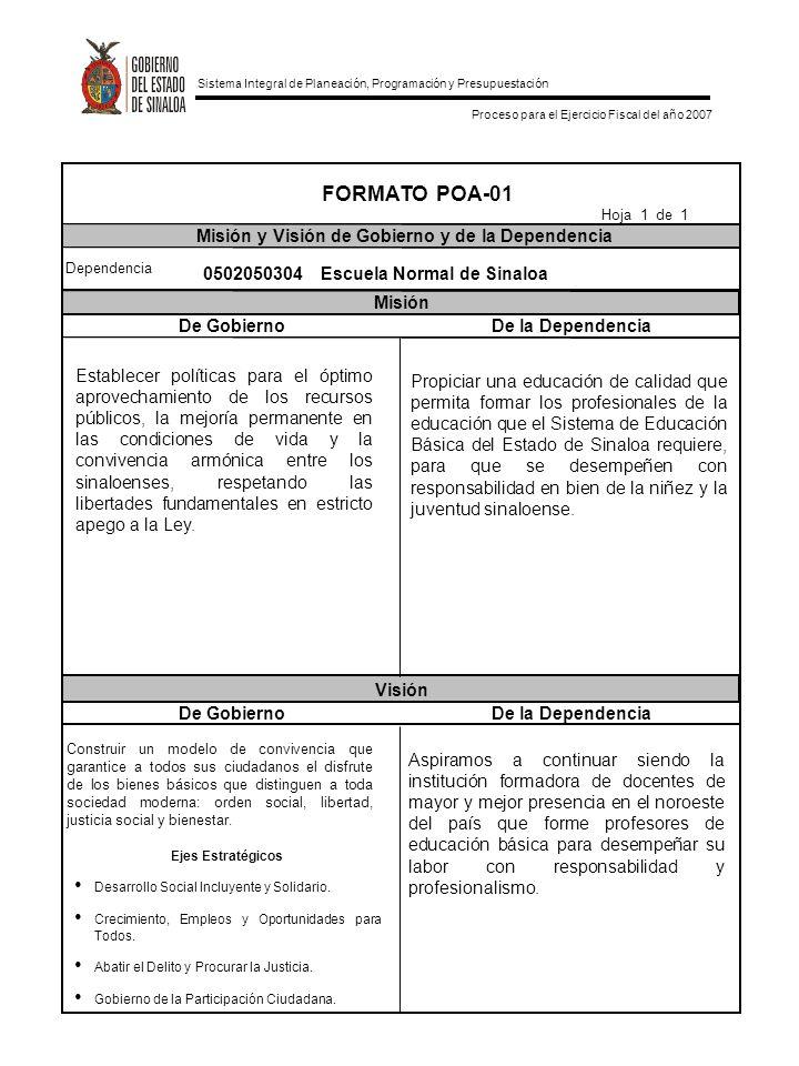 FORMATO POA-01 Misión y Visión de Gobierno y de la Dependencia