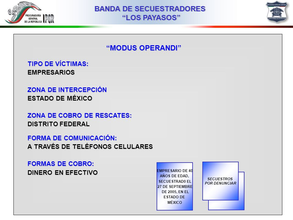 MODUS OPERANDI TIPO DE VÍCTIMAS: EMPRESARIOS ZONA DE INTERCEPCIÓN