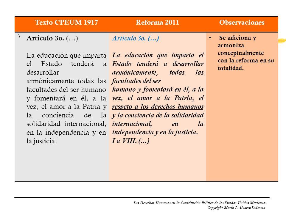 Texto CPEUM 1917 Reforma 2011 Observaciones