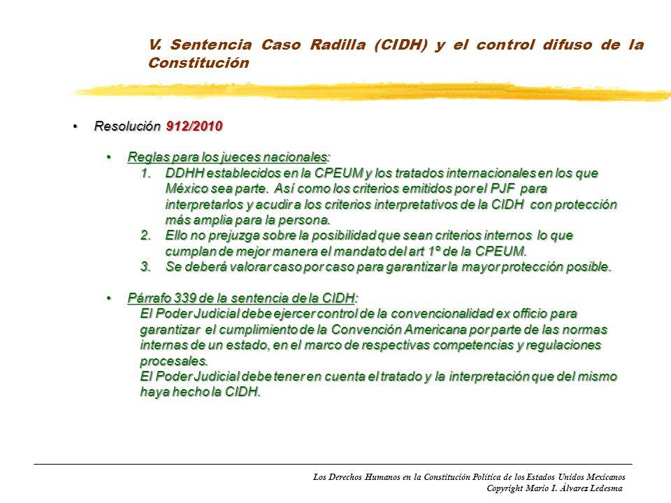 V. Sentencia Caso Radilla (CIDH) y el control difuso de la Constitución