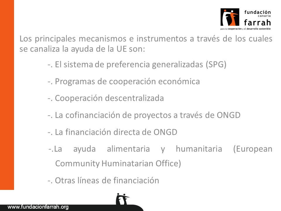 Los principales mecanismos e instrumentos a través de los cuales se canaliza la ayuda de la UE son: