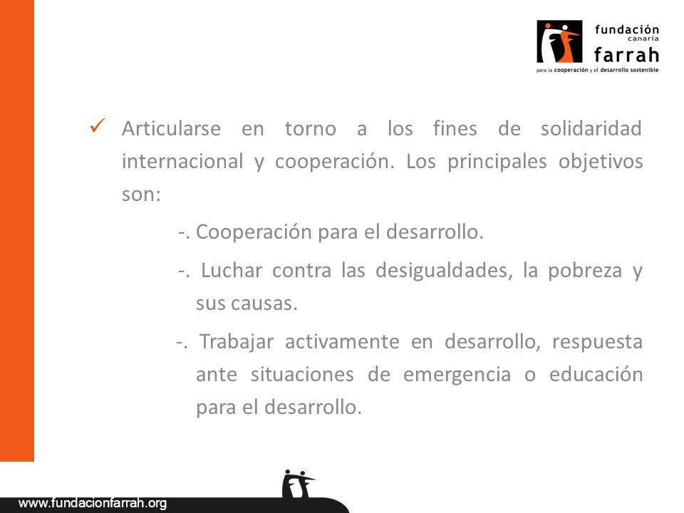 Articularse en torno a los fines de solidaridad internacional y cooperación. Los principales objetivos son: