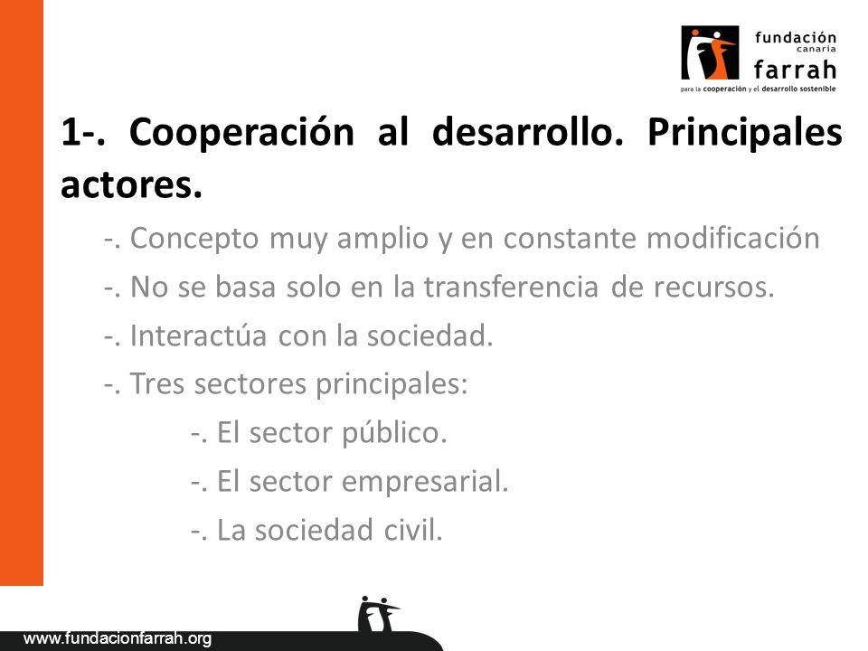 1-. Cooperación al desarrollo. Principales actores.
