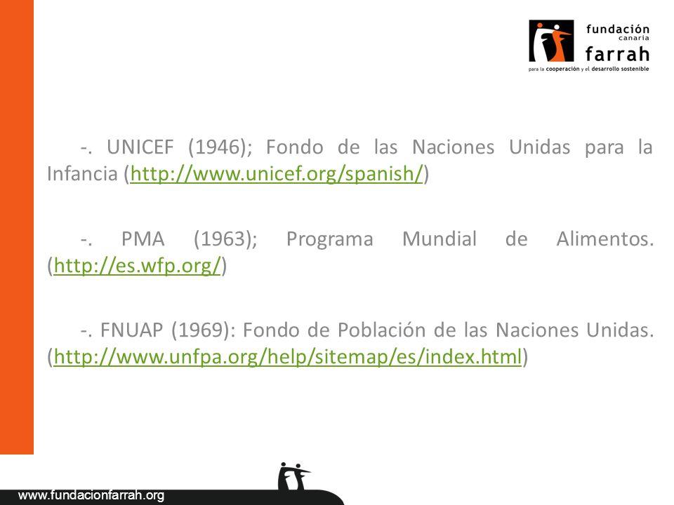 -. UNICEF (1946); Fondo de las Naciones Unidas para la Infancia (http://www.unicef.org/spanish/)