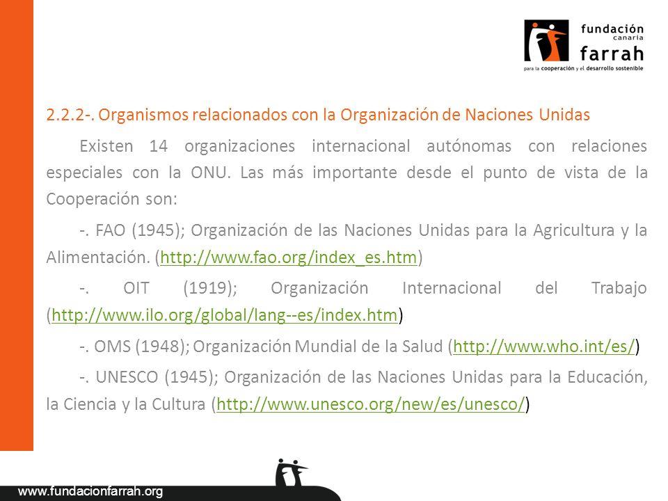 2.2.2-. Organismos relacionados con la Organización de Naciones Unidas