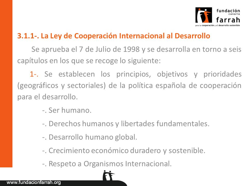 3.1.1-. La Ley de Cooperación Internacional al Desarrollo