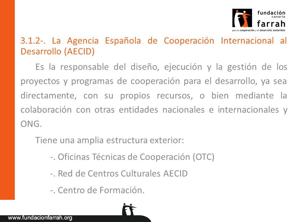 3.1.2-. La Agencia Española de Cooperación Internacional al Desarrollo (AECID)