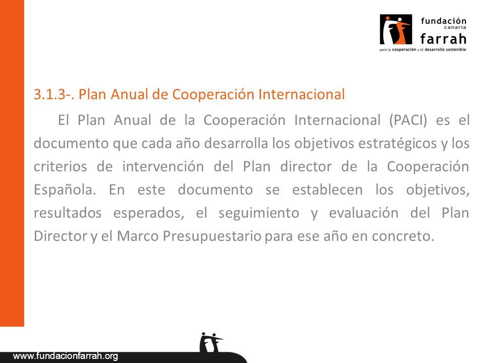 3.1.3-. Plan Anual de Cooperación Internacional