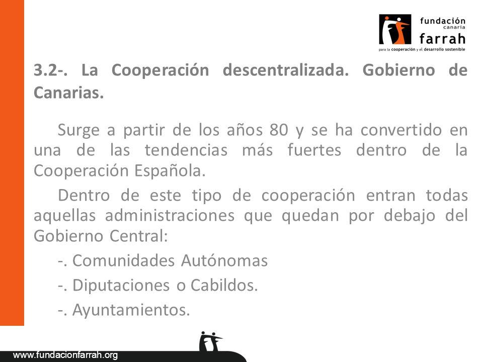 3.2-. La Cooperación descentralizada. Gobierno de Canarias.
