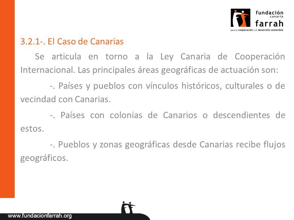 3.2.1-. El Caso de Canarias Se articula en torno a la Ley Canaria de Cooperación Internacional. Las principales áreas geográficas de actuación son: