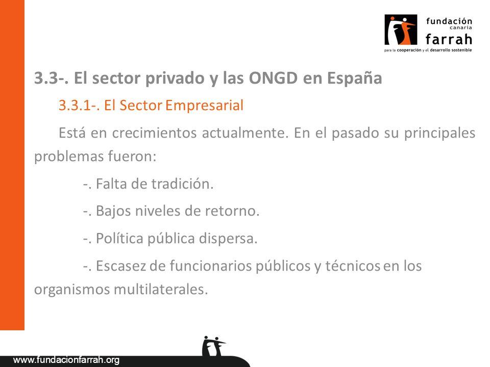 3.3-. El sector privado y las ONGD en España