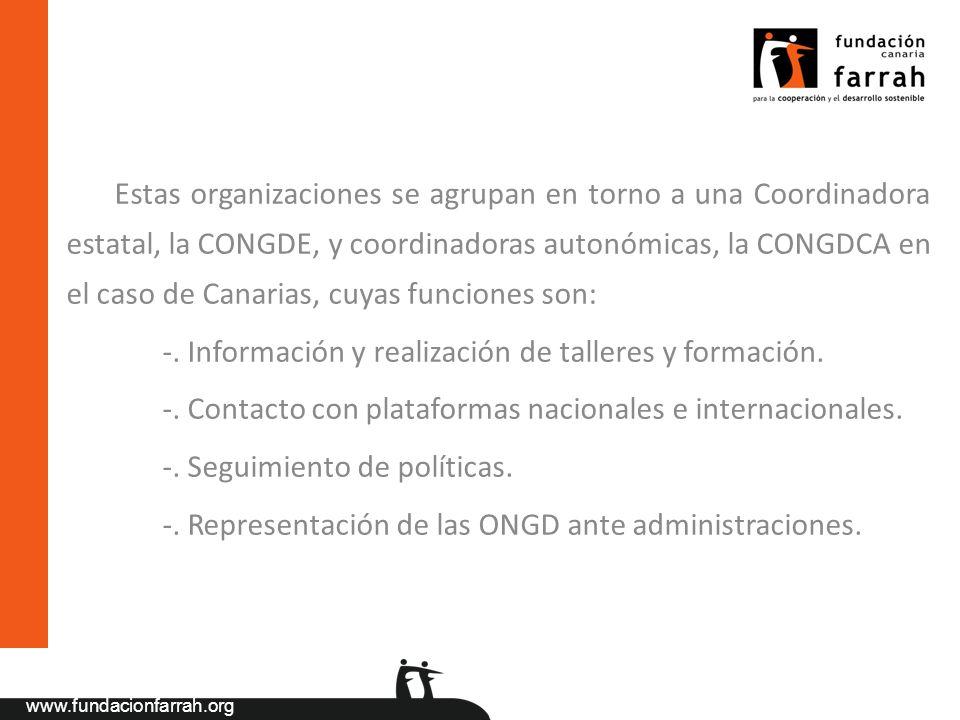 Estas organizaciones se agrupan en torno a una Coordinadora estatal, la CONGDE, y coordinadoras autonómicas, la CONGDCA en el caso de Canarias, cuyas funciones son: