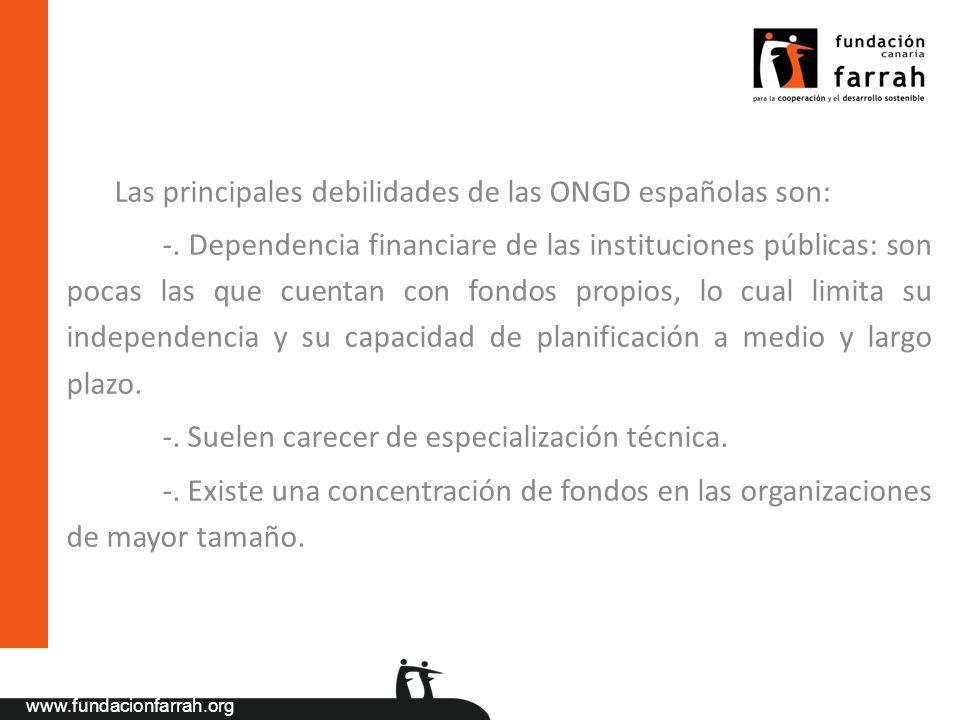 Las principales debilidades de las ONGD españolas son: