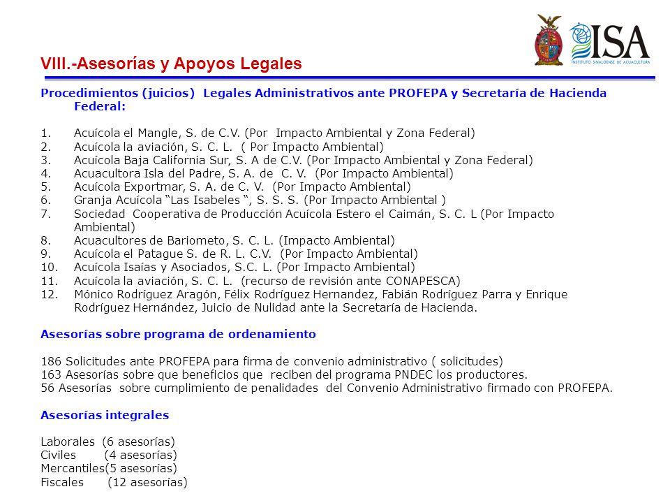 VIII.-Asesorías y Apoyos Legales
