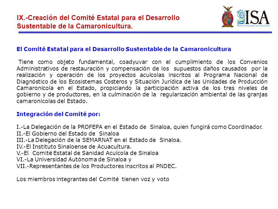 IX.-Creación del Comité Estatal para el Desarrollo