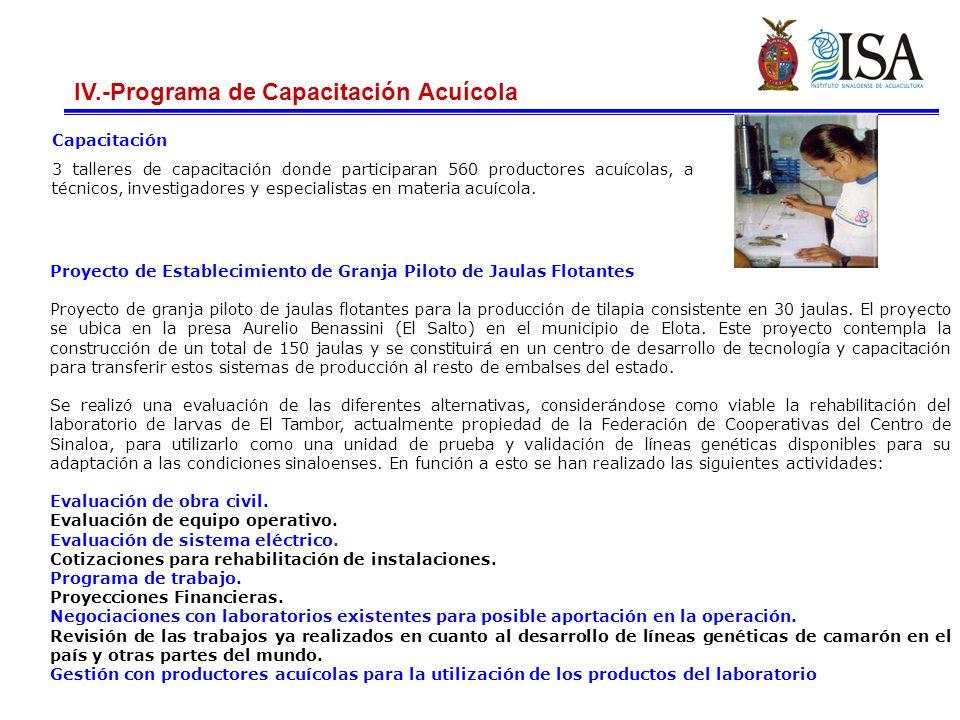 IV.-Programa de Capacitación Acuícola