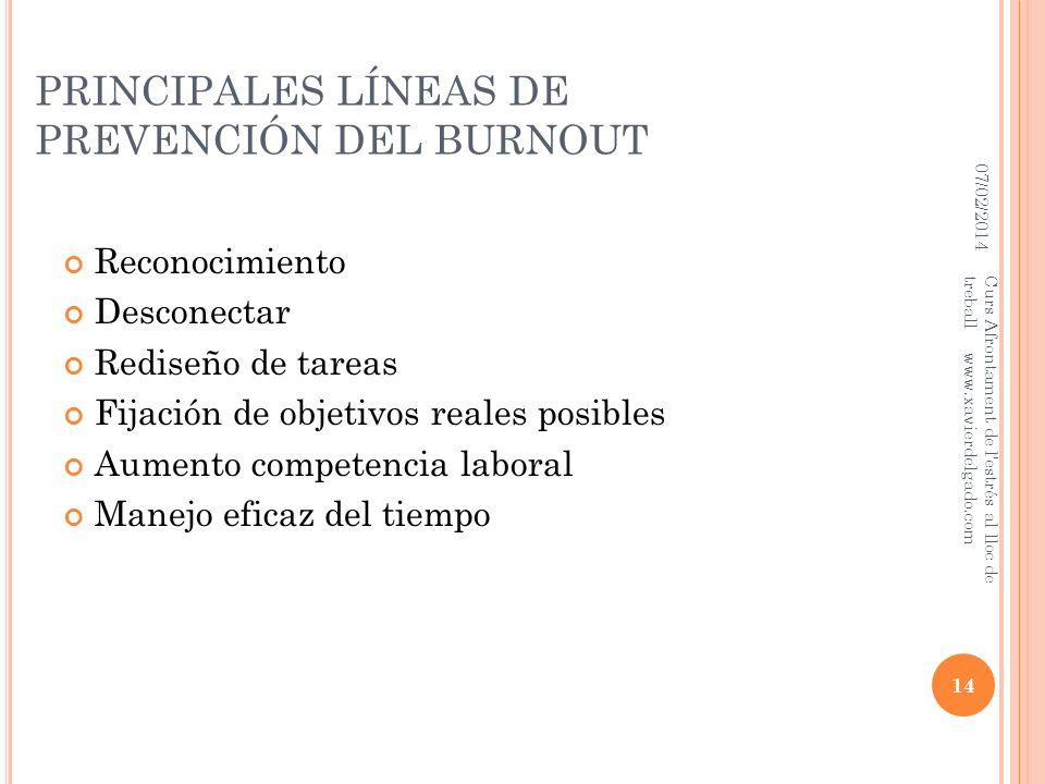 PRINCIPALES LÍNEAS DE PREVENCIÓN DEL BURNOUT