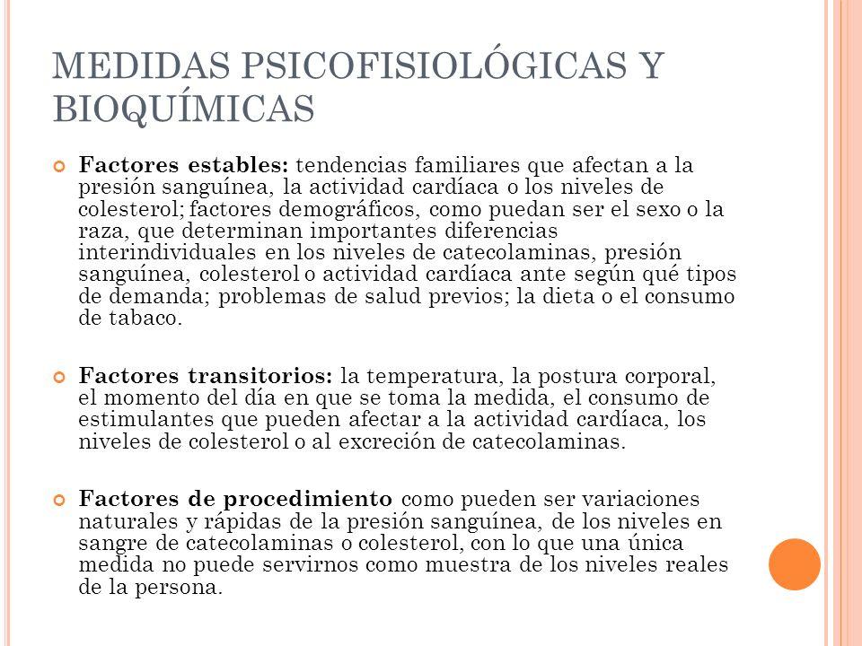 MEDIDAS PSICOFISIOLÓGICAS Y BIOQUÍMICAS