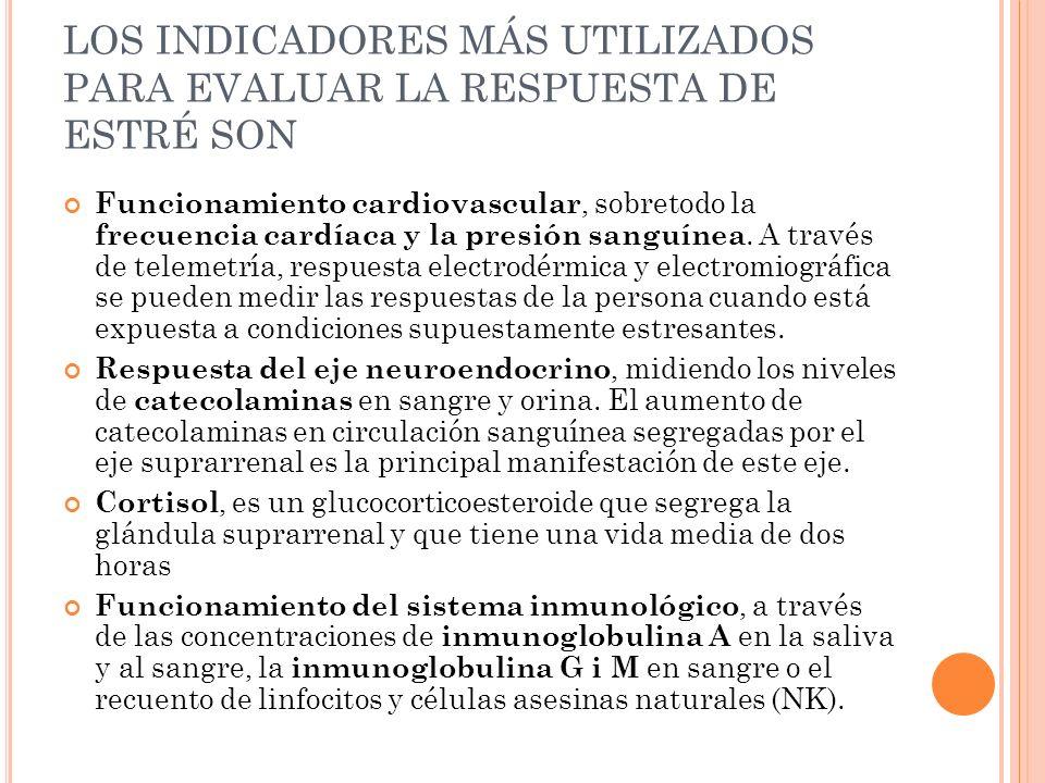 LOS INDICADORES MÁS UTILIZADOS PARA EVALUAR LA RESPUESTA DE ESTRÉ SON
